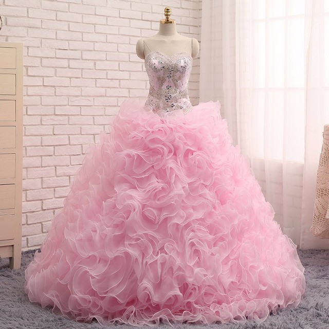 b04fb6b308 Detachable Skirt 2016 Ball Gown Sweetheart Floor Length Organza Ruffles  Beaded Crystals Cheap Pink Quinceanera Dresses