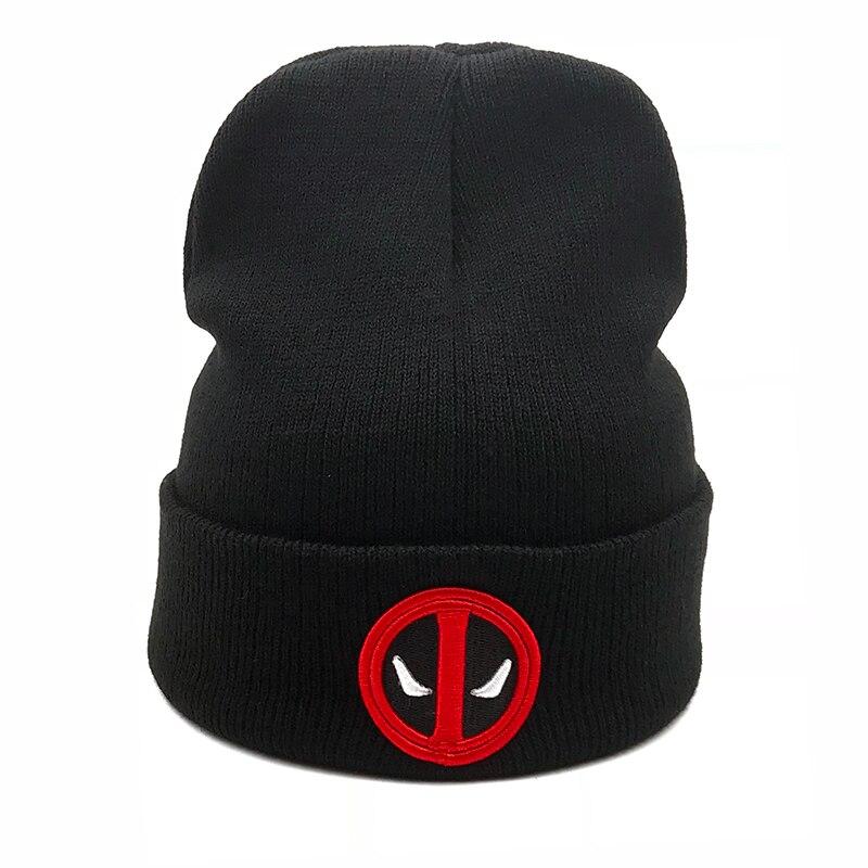2018 New Hot Men Women Winter Warm Beanies Hat Deadpool Heros Hat Beanie Soft Hip Hop Black Warm Knitted Caps For Men Women