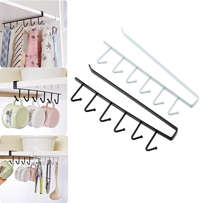 6 Hook Under Shelf Mugs Cups Storage Kitchen Storage Rack Mutifunctional Hook Hanger Organizer for Closet,Cabinet,Bathroom