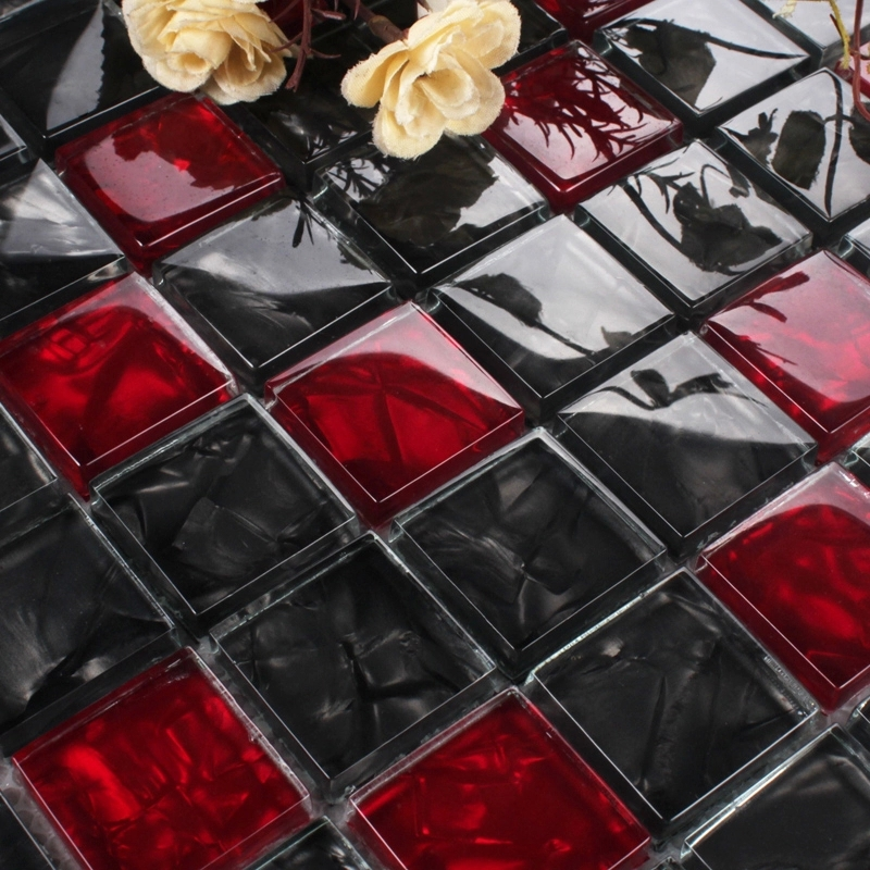 Red and black crystal glass mosaic for bathroom shower for Red and black kitchen backsplash