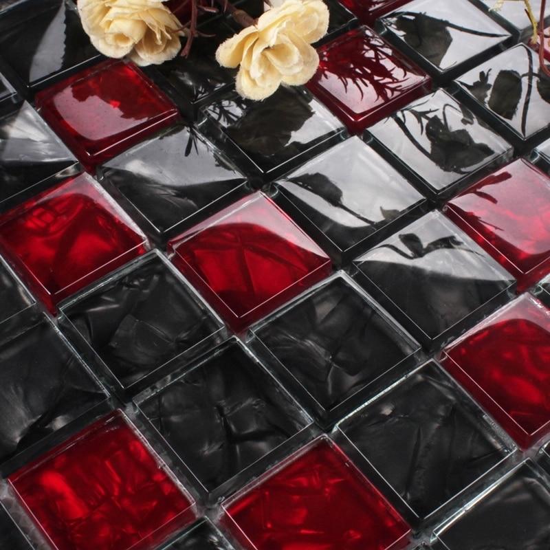 Rosso e nero di cristallo di vetro mosaico per piastrelle - Bagno mosaico rosso ...