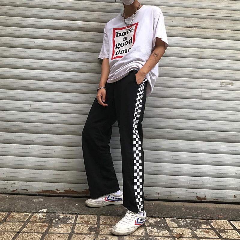 HTB1oZKVSFXXXXb1XFXXq6xXFXXXu - Checkerboard Pants Punk Black White Squares Cool  Street Trouser JKP003