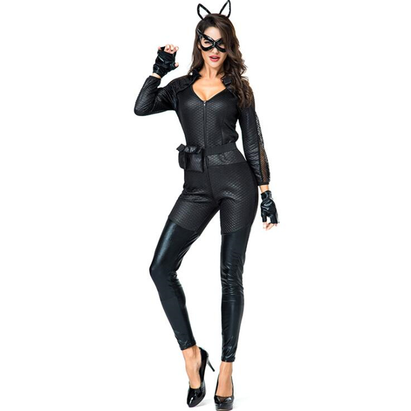Sexy Cat Womens Black Costume Halloween Adult Cosplay Clothing