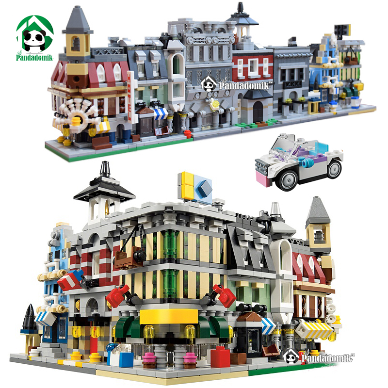 City Street View 1354pcs Building Blocks 5 Houses 1 Car toy Large Bricks Set figure Toys for Children Bricks Compatible lepin lepin 02012 city deepwater exploration vessel 60095 building blocks policeman toys children compatible with lego gift kid sets