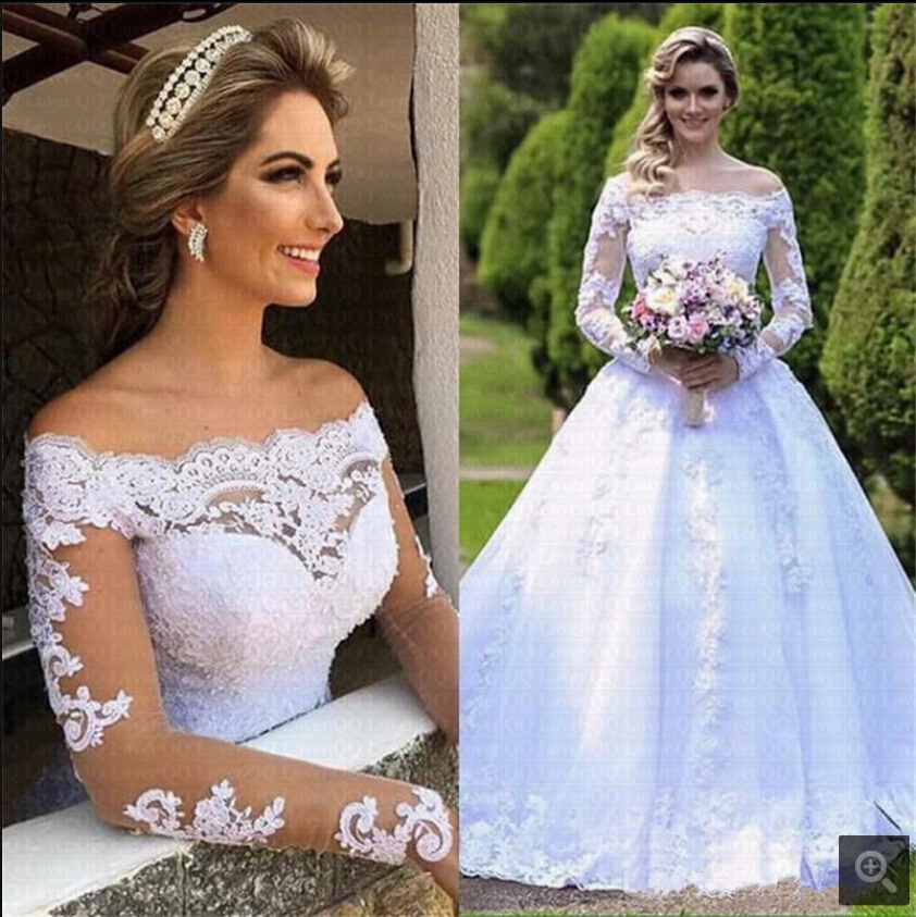 2019 New Arrival Ball Gown White Lace Off The Shoulder Bride Dress Beaded Appliques Muslim Women Modest Stylish Wedding Dresses