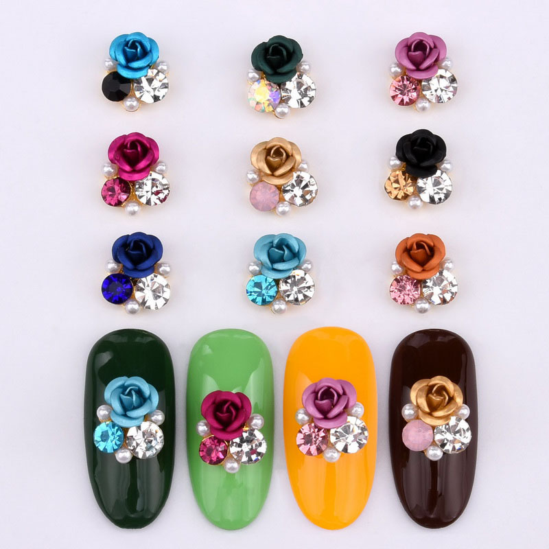 10psc  New Design 3D Nail Art Alloy Decorations rose flowers Crystal rhinestones Nail Charms Supplies LH322 330-in Rhinestones & Decorations from Beauty & Health