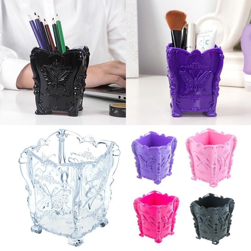 Acrylic Butterfly Carved Desktop Storage Organizer Case Sundries Cosmetics Makeup Pen Brush Storage Box Cabinet Storage Basket