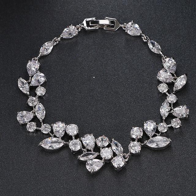 Emmaya Fashion Unique Design Trendy Bracelet White Gold Color Luxury AAA Cubic Zirconia Jewelry Bracelets For Women