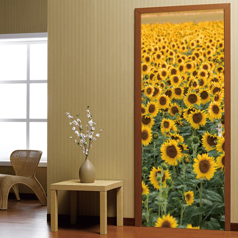 Custom Mural Wallpaper Wall Painting Poster Flower Door Sticker Living Room Sofa TV Background Wall Mural Home Decor in Wall Stickers from Home Garden
