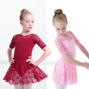 Image 2 - בנות בלט שמלת התעמלות בגדי גוף תחרה עקף בגדי גוף ארוך שרוול ילדים פעוט התעמלות בגד ים לריקודים