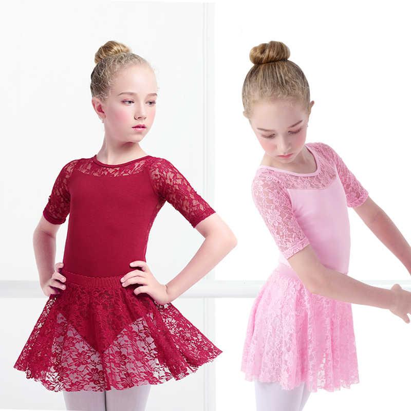 فستان باليه بناتي ثياب الجمباز ثياب بالدانتيل ثياب طويلة الأكمام للأطفال الصغار ملابس الجمباز للرقص