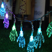 Festivals Halloween Decorative Lights Skeleton Hand Batteries Lamps Outdoor Decoration Ghost Handle Light String