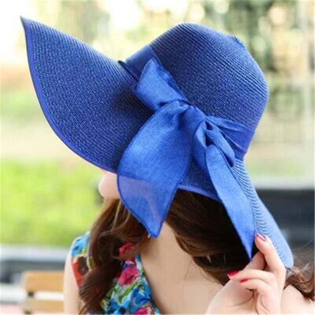 7c1a83a8 Straw Hats For Women's Female Summer Ladies Wide Brim Beach Hats Sexy  Chapeau Large Floppy Sun