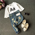 2016 Korean Baby Boy Girls Clothing Sets children Letter Black White T-shirts + ripped Jean Girls Fashion Clothing 2 piece suit