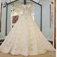 Luxury Dubai Crystal Wedding Dresses Lace 3D Flower Bridal Gowns Real Image Dubai Wedding Gowns Beaded Bow Vestido De Noiva