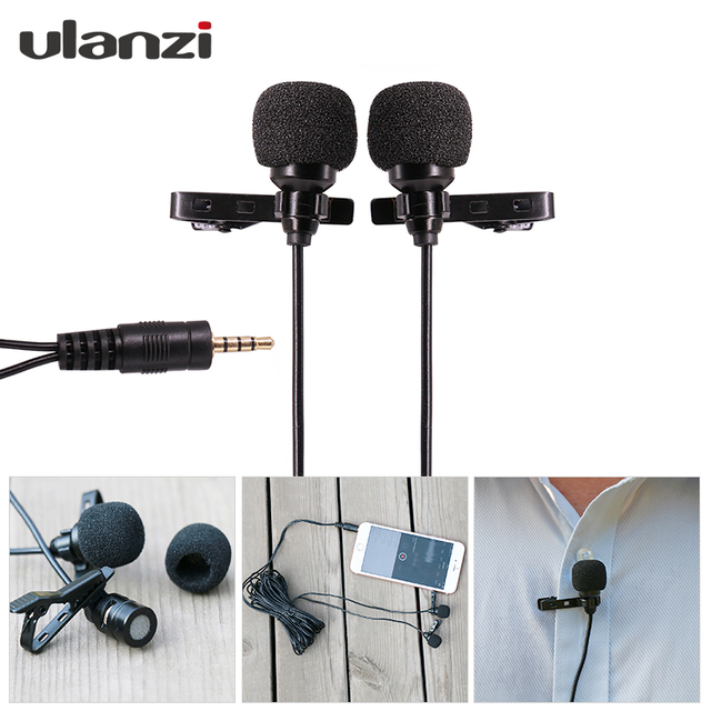 Dual-Headed Lavalier Lapel Clip-on Omnidirectional Condenser Microphone for Interview Conference for iPhone Android Phones