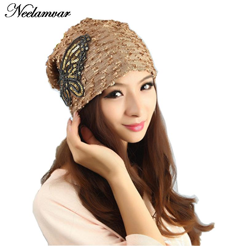 New 2019 Fashion Women's Hats Lace Butterfly Beanie For Women Autumn And Winter Black White 5 Colors Skullies Turban Hat
