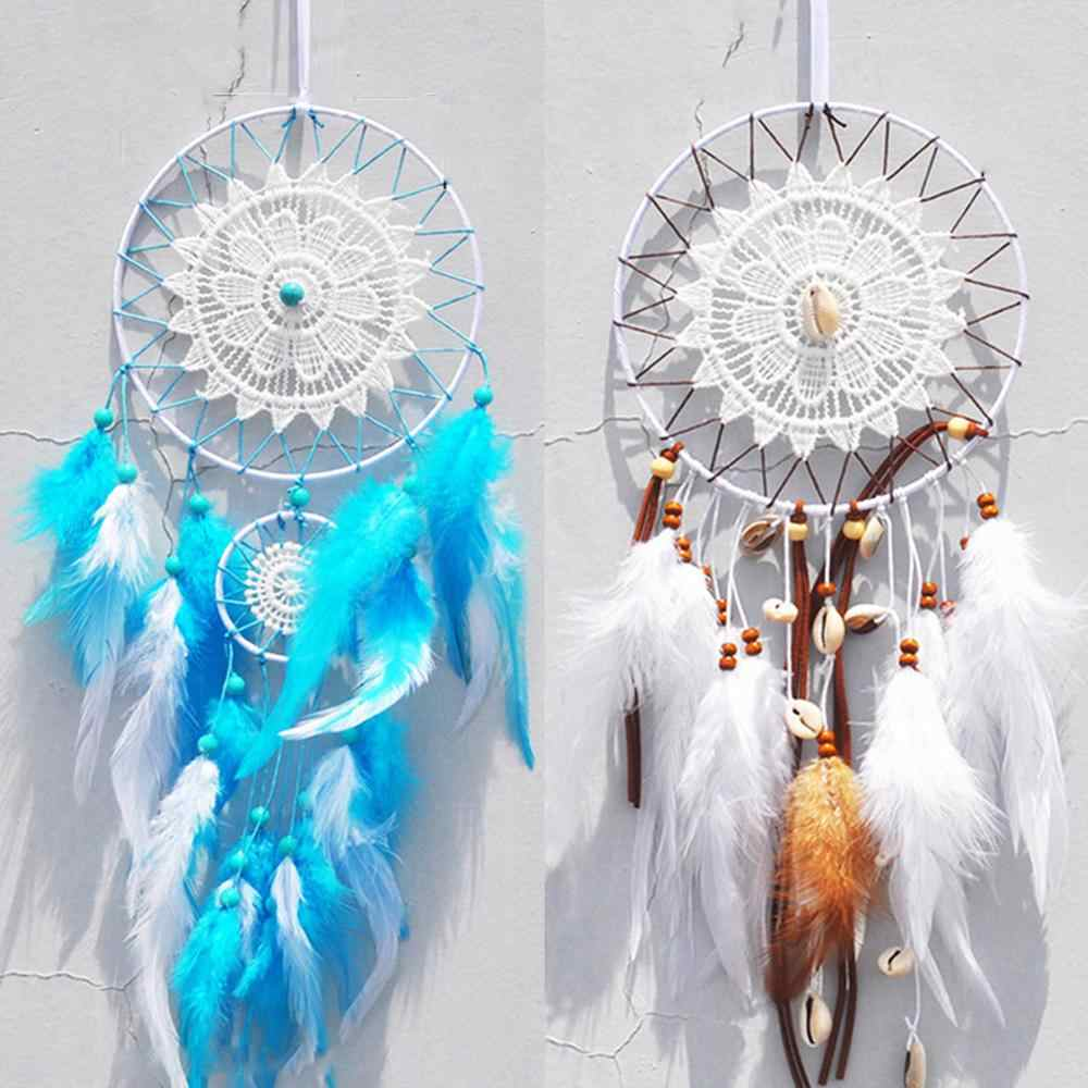 Indian Five-Ring White Feather Dream Catcher Birthday Gift Home Ornaments Handmade Weaving