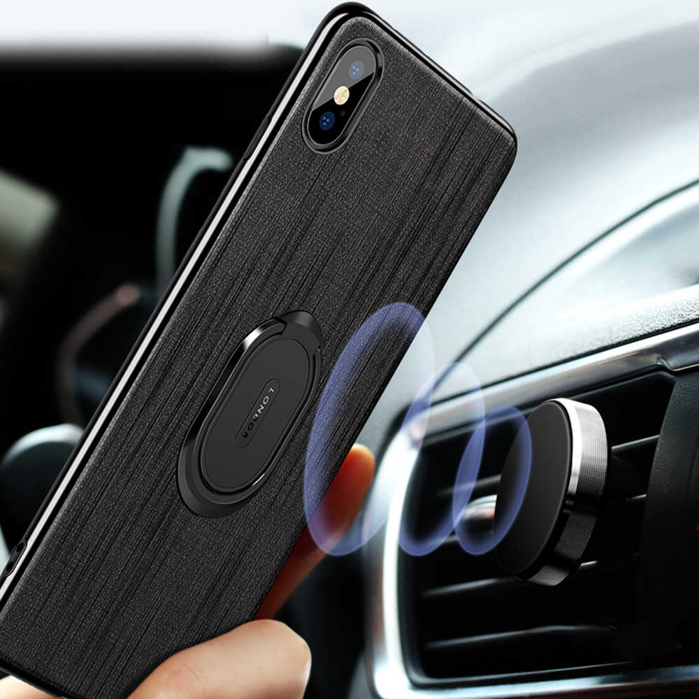 OTAO Luxury Car Bracket Ring Magnetic Cloth Phone Case For iPhone 8 7 Plus XS MAX XS XR Hard Cover For iPhone 6 6s Plus Cases