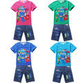 1set 2017 Summer Children Boy girl short sleeve t shirt PJMASKS +Short jean pant 2-piece/set girls boys casual set 8213 8183