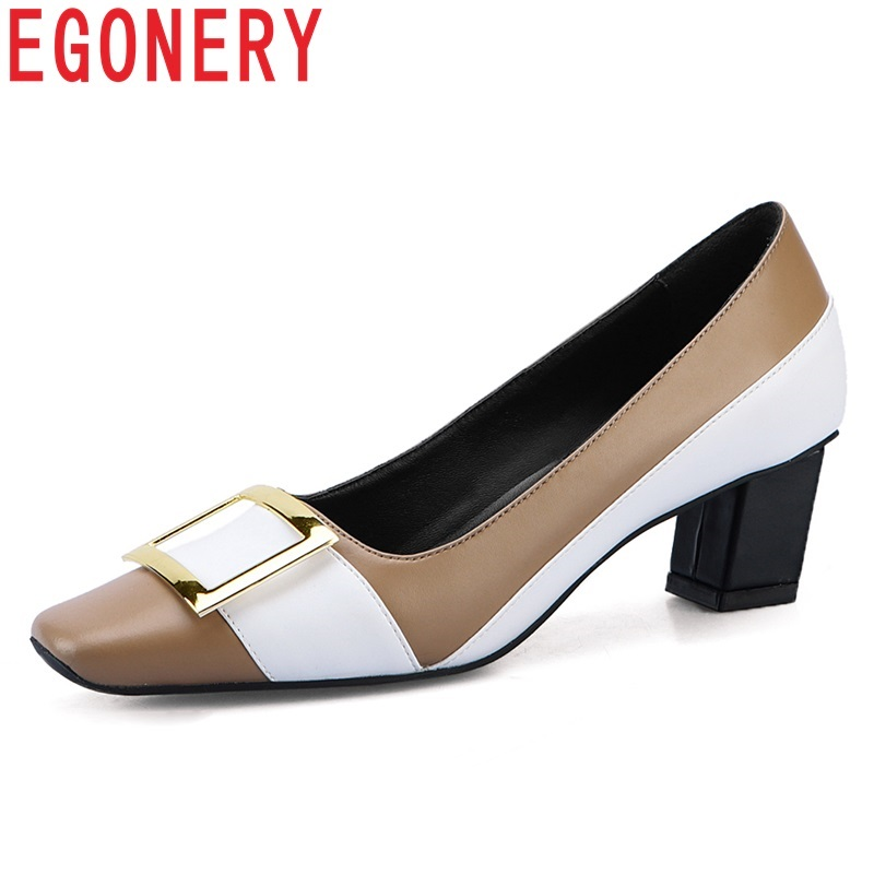 EGONERY shoes women 2019 spring new fashion mixed colors genuine leather women pumps med square heel slip on square toe shoes