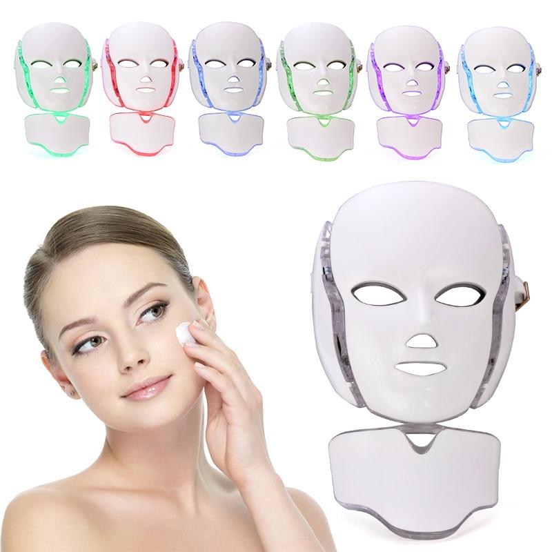 7 Color LED Photon Facial Mask Wrinkle Acne Removal Face Skin Rejuvenation Facial Massage Machine For French Express Logistics цена