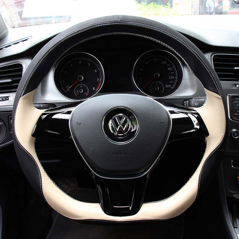 Genuine Leather Car Steering Wheel Cover For Volkswagen vw passat b5 b6 b7 polo 4 5 6 7 golf tiguan jetta touareg accessorie 1 pc 3d chrome r r line badge logo emblem rline car stickers racing for vw golf 5 6 7 touareg tiguan passat b6 b7 jetta sharan