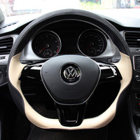 Genuine Leather Car   Steering   Wheel   Cover   For Volkswagen vw passat b5 b6 b7 polo 4 5 6 7 golf tiguan jetta touareg accessorie