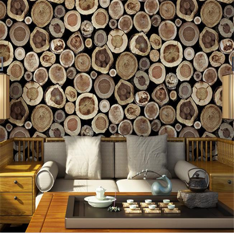 Rustic Faux Log Wood Wallpaper Rolls Nature Vintage Wall Paper Vinyl Dark Grey Brown Wall Covering for Living Room Home Decor