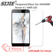 SIJIE 2PCS Tempered Glass For HUAWEI honor 6 H60-L01 honor6 save cover Screen Protect Protector protective 5 inch free gift free shipping brand new 15 6 inch led screen ltn156kt02 lp156wd1 tlb2 tlb3 b156rw01 v 1 n156o6 l01