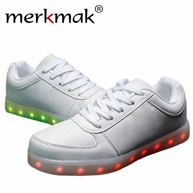 Новый 7 Цветов Световой Свет Обувь Моды для Мужчин USB перезаряжаемый Светодиодный Свет Обувь Для Взрослых Повседневная Обувь Большого Размера 35-46