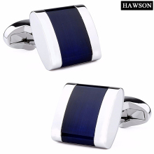 HAWSON Classic Opal Cuff links Luxury Navy Blue Stone Cufflinks for Men High Quality