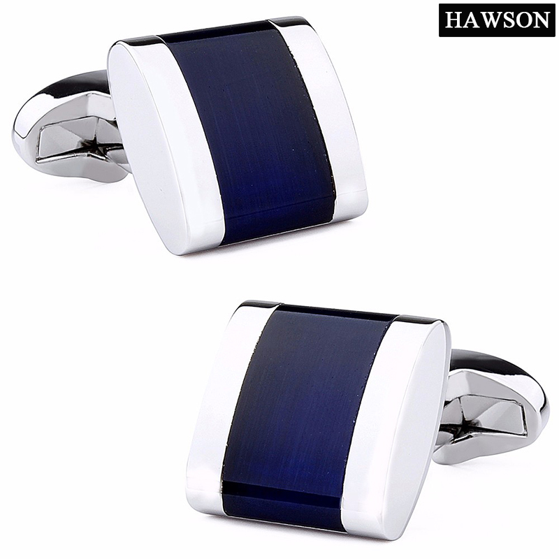 HAWSON Classic Opal Cuff links Luxury Navy Blue Stone Cufflinks للرجال جودة عالية