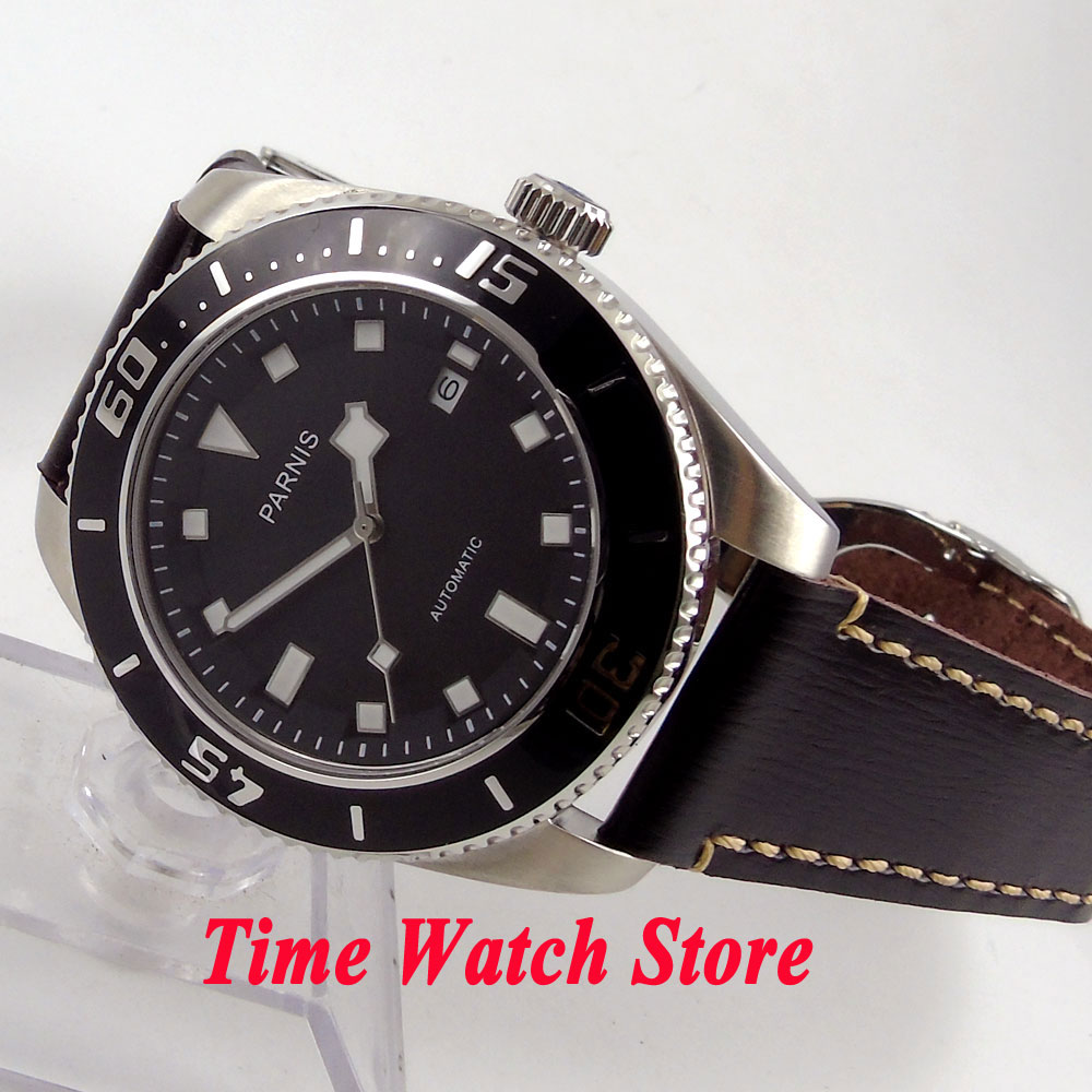 Parnis 43mm black dial white marks sapphire glass deployant clasp 10ATM MIYOTA 821A Automatic mens watch 592Parnis 43mm black dial white marks sapphire glass deployant clasp 10ATM MIYOTA 821A Automatic mens watch 592