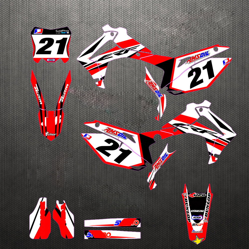 Customized Number Gloss Team GRAPHICS&BACKGROUNDS DECAL STICKER For Honda CRF250R CRF250 2014 2015 2016 CRF 250 R