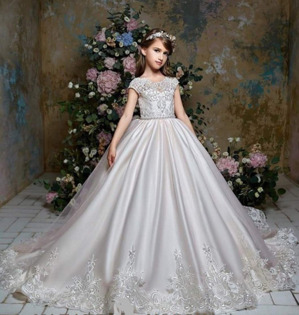 Disney Wedding Dresses 2019: Princess Flower Girl Dress Summer 2019 Satin Wedding