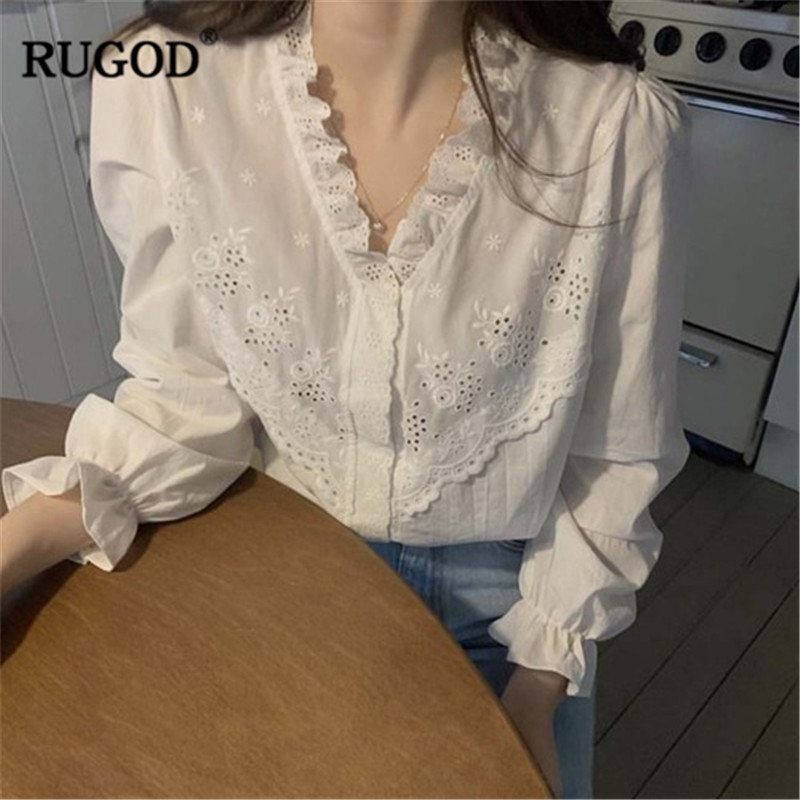 RUGOD V Neck Women Blouses Patchwork Hollow Out Lace Edge White Solid Elegant Vintage Korean Style Modis Femme Blusas Mujer