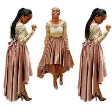 Long Satin Skirts Women 2016 Plus Size 5XL Autumn Vintage Hi Low Asymmetrical Bow Belt Party Maxi Skirt Hot Sale Pleated Skirt