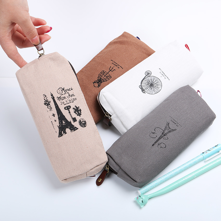 1PC Simple Creative Paris Style Pattern Pen Pencil Case Retro Towers Linen Men and Women Holder Storage Bag Office Stationery