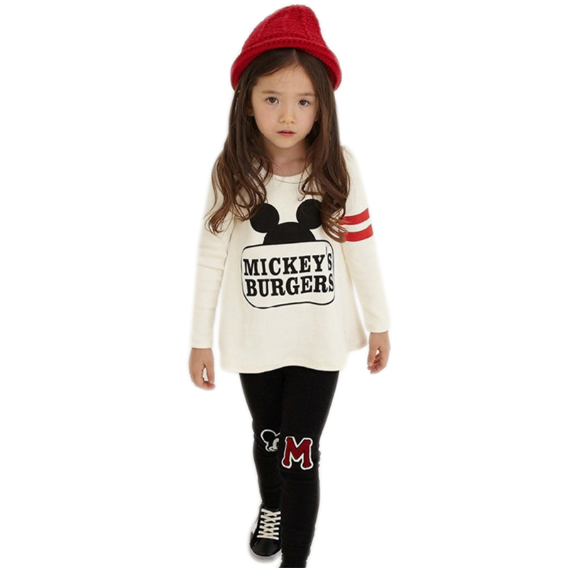Baby Girls Clothing Sets 3 4 5 6 7 8 Years for Girls Clothes Minnie Clothing Long Sleeve Children Clothing Cotton Kids Clothes 2017 new kids clothes girls kitty clothing minnie sets baby cotton costumes children girl pajamas set roupas conjunto menina