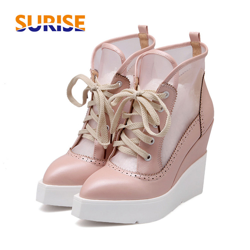 Summer Women Ankle Boots Wedge Platform High Heel PU Leather Mesh Pointed Toe Casual Punk Lace Up Flat Ladies Short Martin Boots asumer 2017 new high heels wedge boots lace up sexy cut out mesh platform boots women elegant thick sole summer ankle boots
