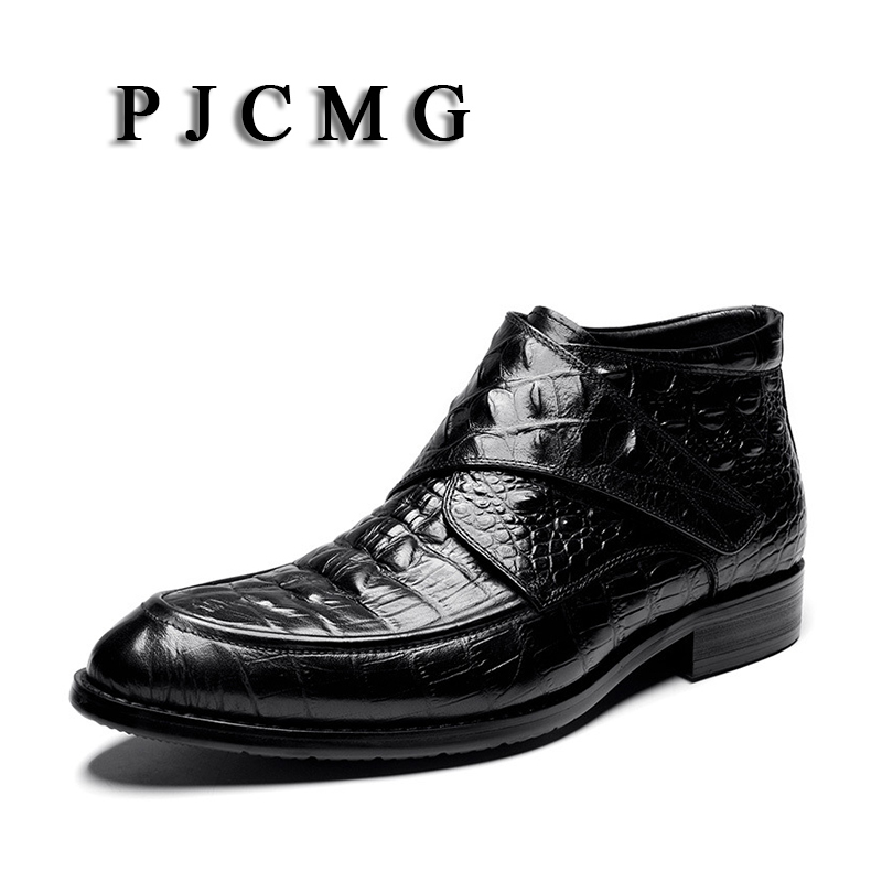 PJCMG New Pointed Toe Slip-On Ankle Crocodile Pattern Boots Men  Genuine Leather Men Motorcycle Boots For Men Shoes branded men s penny loafes casual men s full grain leather emboss crocodile boat shoes slip on breathable moccasin driving shoes
