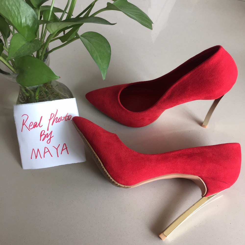 MAYA  REAL PHOTO 2017 Sexy women high heels red suede women pumps real sexy steal набор для глаз