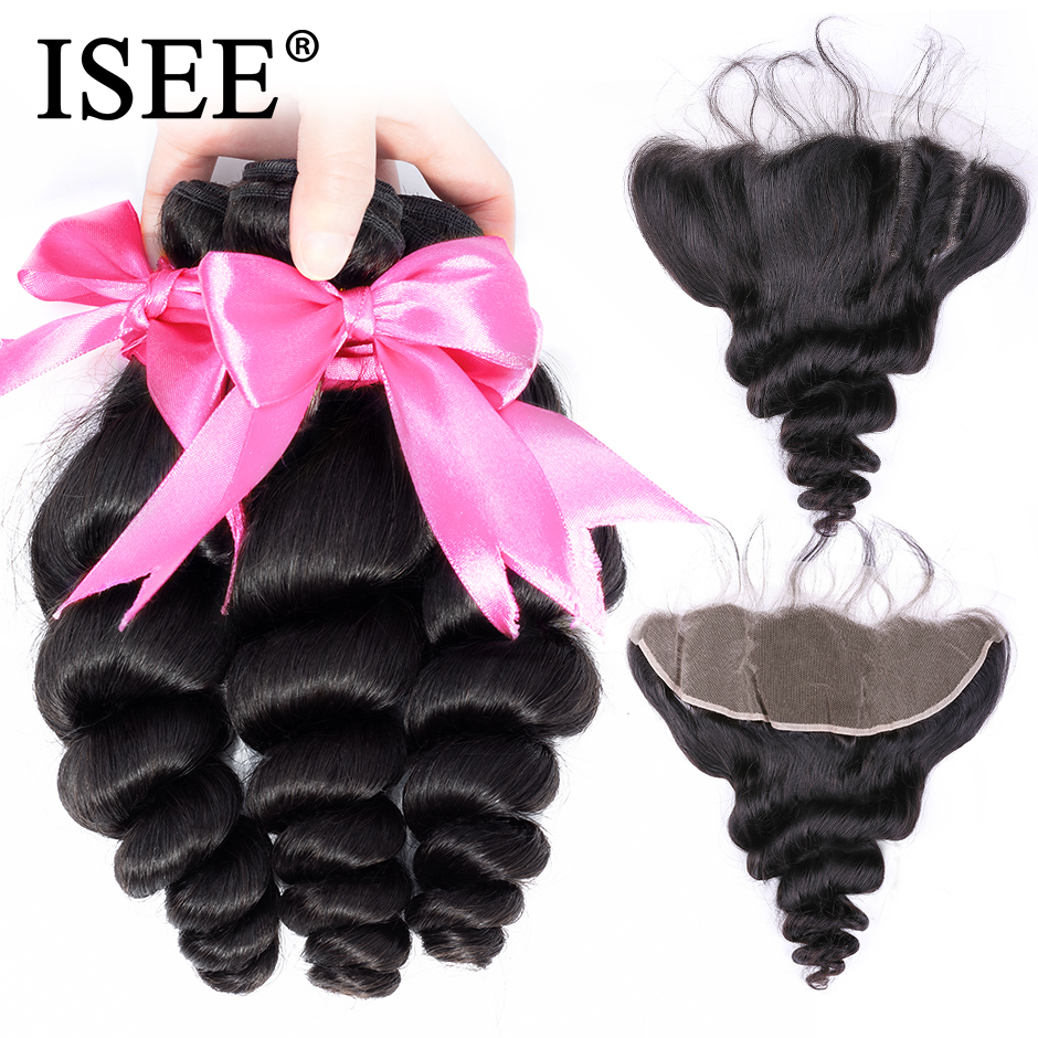 ISEE HAIR Human Hair Bundles With Frontal 13*4 Pre Plucked Lace Frontal Remy Peruvian Loose Wave Bundles With Frontal