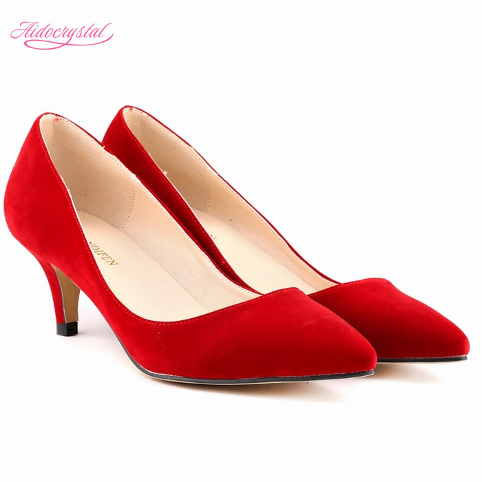 25257159055 Aidocrystal kitten Heels Pointed Toe red Shoes Woman Pumps Stiletto Bridal  Shoes Ladies Shoes Size 35 -41