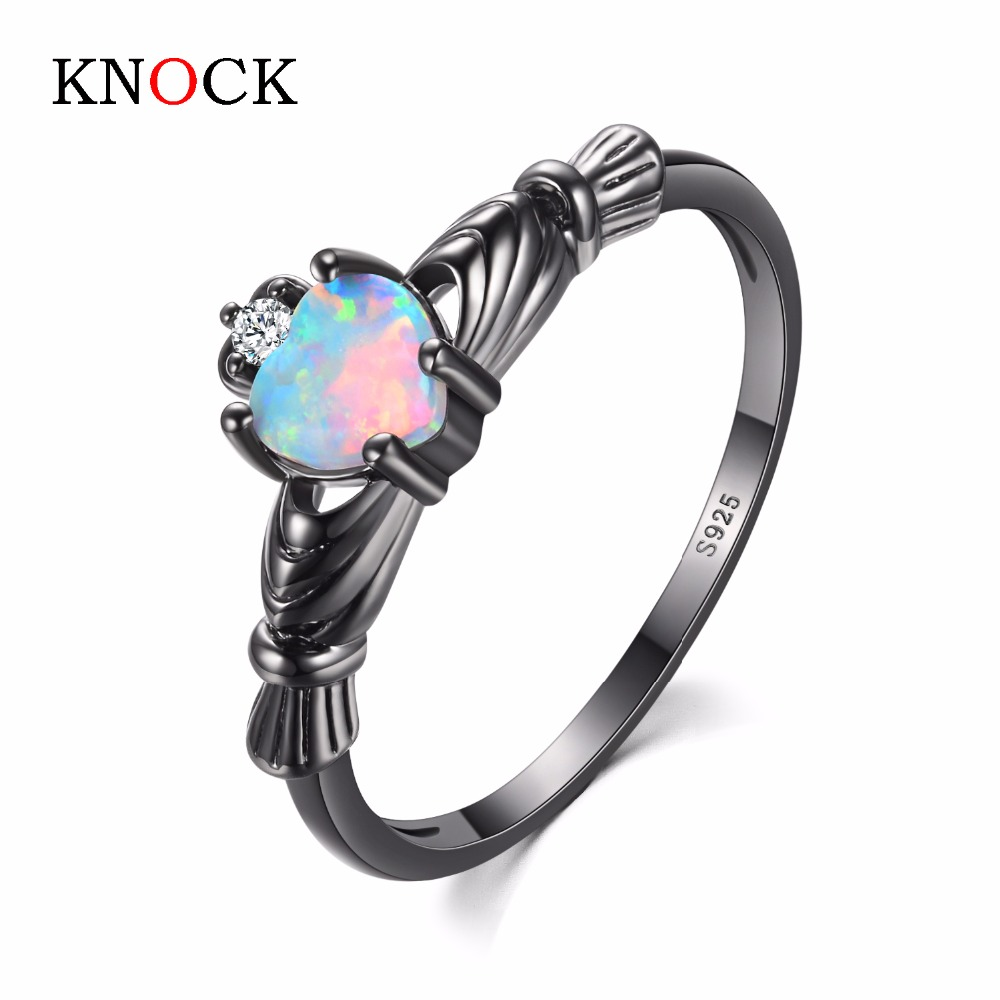 KNOCK  high Charming Heart Shape Fire Opal Rings For Women Wedding Band Vintage Black  Filled White  Ring charming round shape rhinestone decorated ring for women