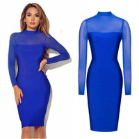 Europe And The United States Autumn And Winter Long Sleeved Sexy Nightclub Dress Six Color Optional