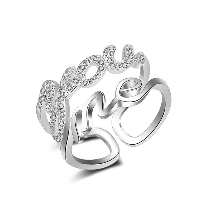 JEXXI Charm Anniversary Gift Beautiful Hollow Ring For Beloved Silver Fashion Jewelry Band Accessories Love You
