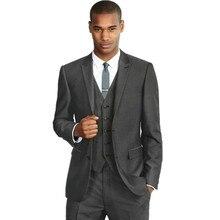 Leisure Suit Perfect Male Suits Peaked Lapel Two Button Dark Gray Groomsman Tuxedos Wedding Suits( jacket+Pants+vest+tie)