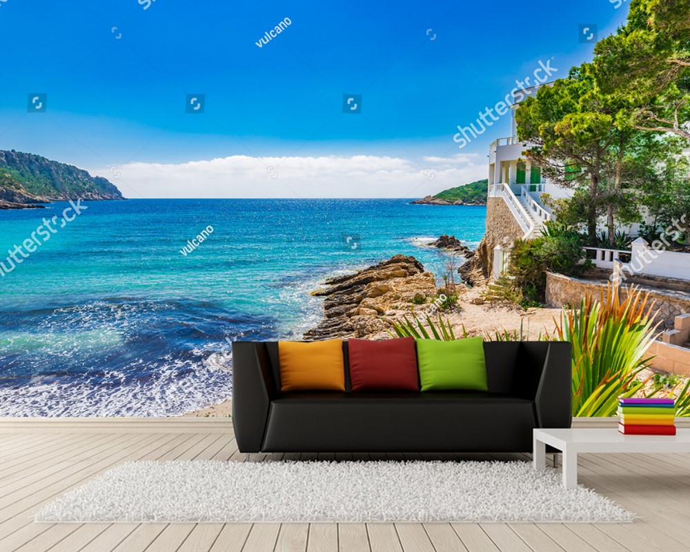living natural sofa bedroom custom murals backdrop waterproof landscape sea